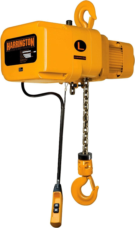 10 Lift 1//2 Ton 15 ft//min Harrington NER005L-10 NER Electric Hoist w//Hook Suspension 230V