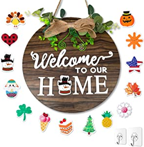 LEADUWAY Interchangeable Welcome Sign for Front Door, Seasonal Rustic Wood Door Sign with 14 styles, Outdoor Wall Hanging Welcome Sign for Farmhouse, Holiday Decor for Spring Easter Christmas Winters