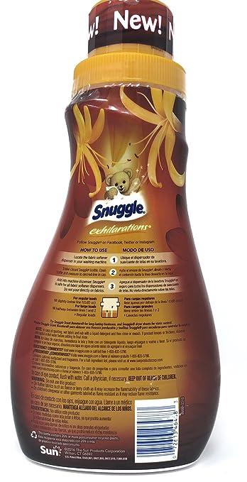 Amazon.com: Snuggle Exhilarations Liquid Fabric Softener, Amber Woods & Honeysuckle, 32 Fluid Ounces, 37 Loads (Pack of 2): Health & Personal Care