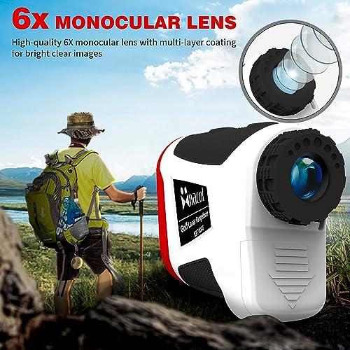 NaCot Golf Rangefinder for Men, 6X Laser Distance Range Finder 820 Yards with Slope, Flag-Lock with Vibration, Distance Speed Angle Measurement, with Battery