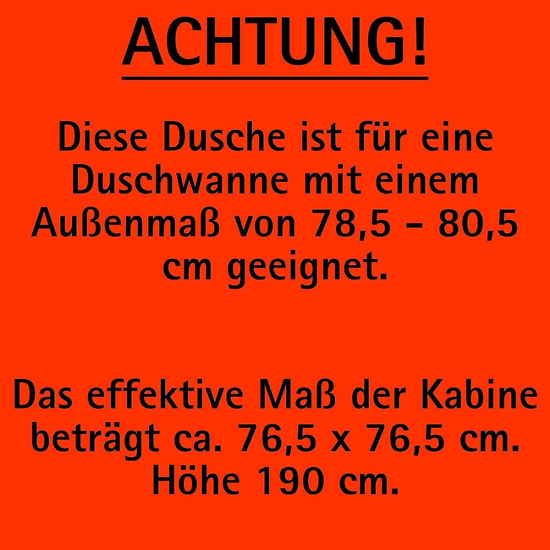 Duschkabine Dreht/ür Seitenwand Bremen 5 mm Sicherheitsglas transparent Profile in alu grau 90 x 90 cm der Renovierungsprofi 190 cm