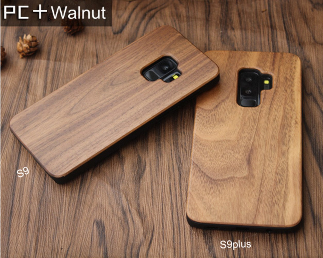 size 40 42653 4c4a0 Samsung Galaxy S9 Plus Wood Case - CoCo Laser Carving Marked Galaxy S9 Plus  Wooden Case with Durable Polycarbonate Bumper Slim Covering Case 2018 ...