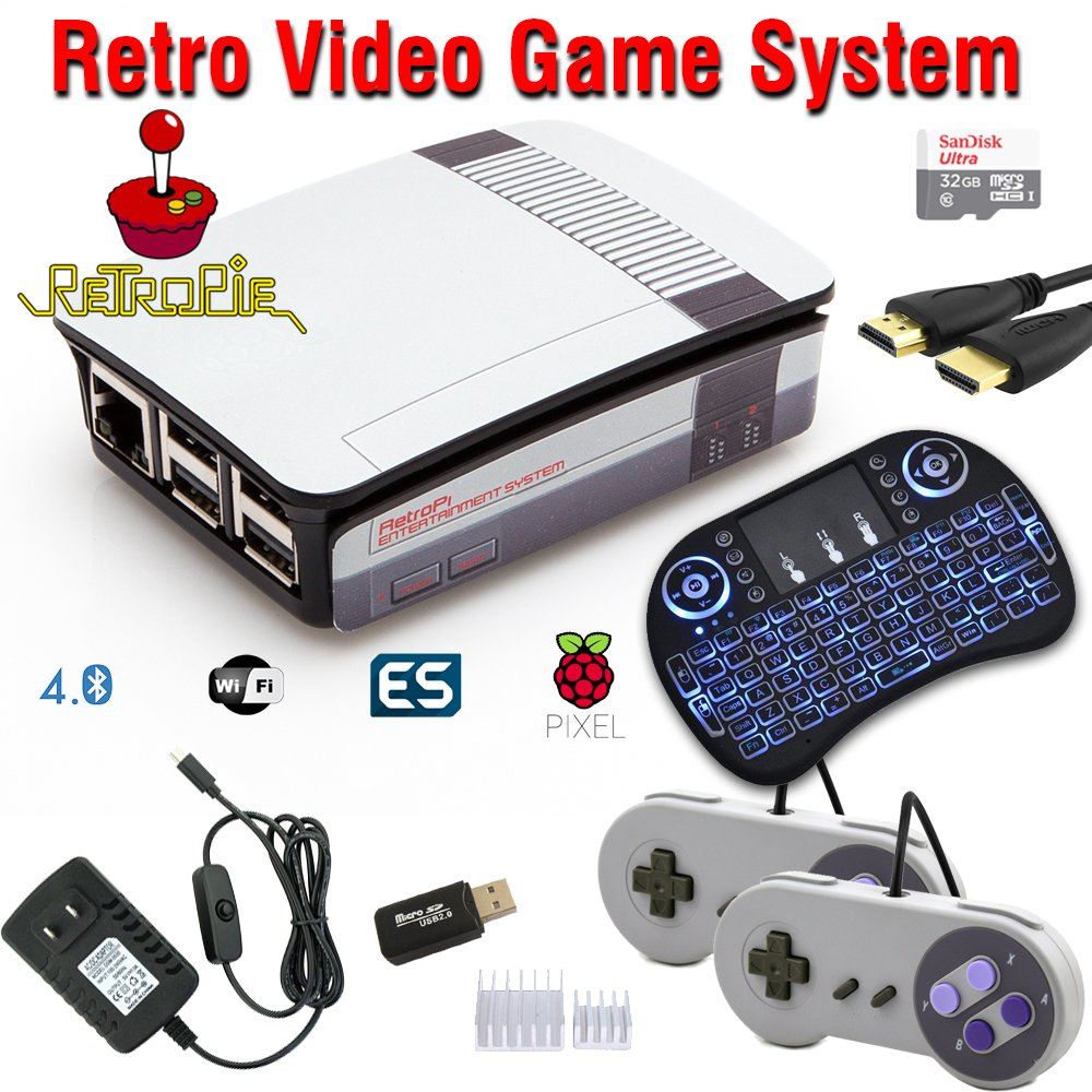 Raspberry Pi 3 Based Retro Video Game System - RetroPie - Retro Games - 32GB Edition - Bundle with Wireless Keyboard/Mouse