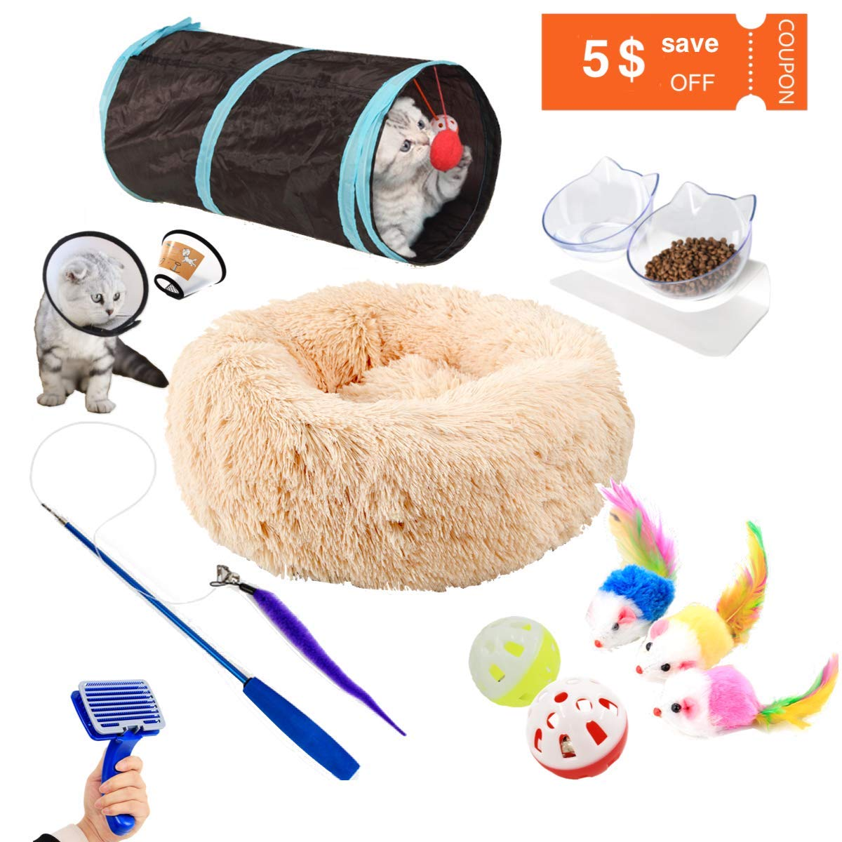 Cat Starter Kit 12PCS Plush Donut Cuddler Cat Bed Double and Tilted Raised Pet Bowls with Cat Tunnel Pet Grooming Brush Cat Feather Teaser Wand Interactive Toy by CLORY