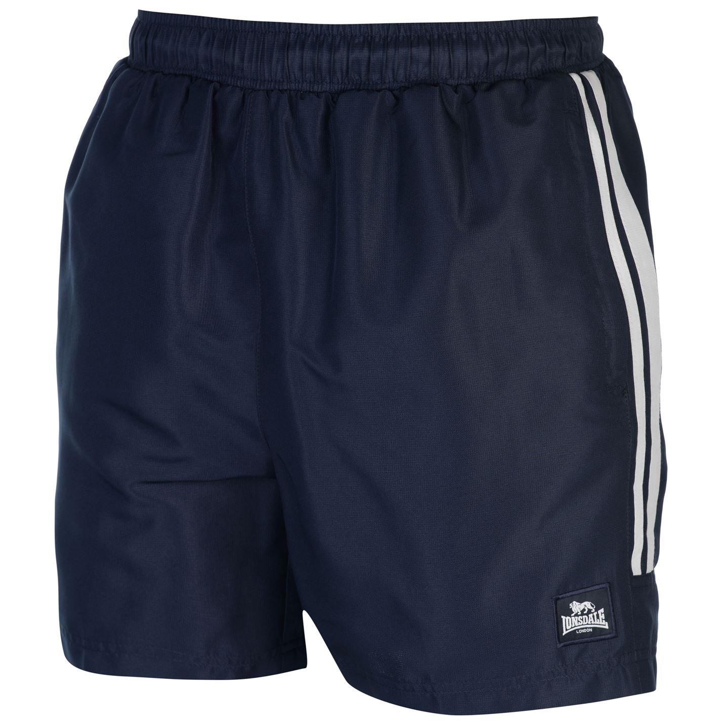 Lonsdale Hombre 2Rayas Tejida Pantalones Cortos Entrenamiento Pantalones Cortos para cordón