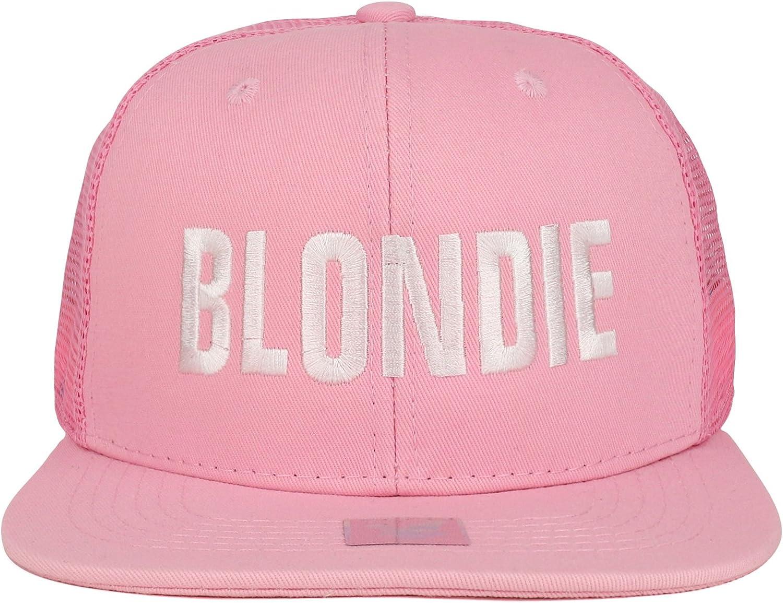 Trendy Apparel Shop Blondie Embroidered Cotton Flat Bill Mesh Cap