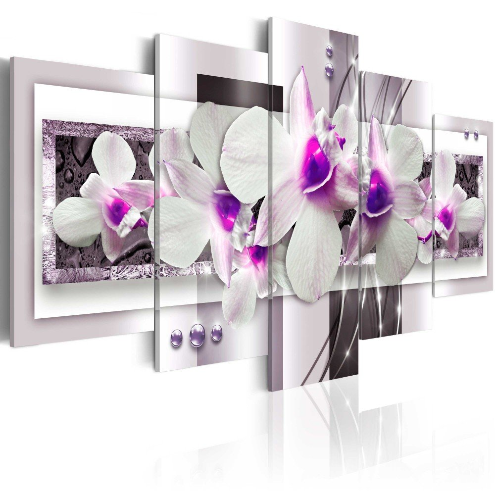 Orchid Flowers Floral Canvas Print Abstract Design Wall Art Painting Decor for Home Decoration Artwork Pictures Bedroom Flower (C, Over Size 40