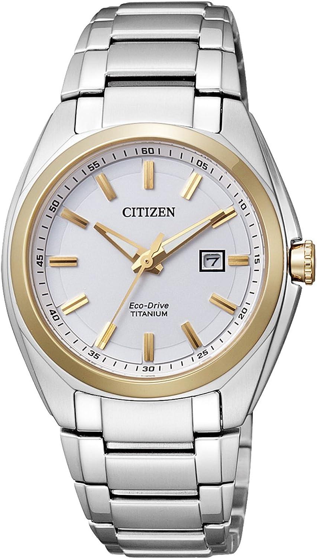 Citizen Super Titanium EW2214-52A - Reloj analógico de Cuarzo para Mujer, Correa de Titanio Color Plateado