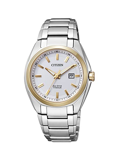 Citizen Super Titanium EW2214-52A - Reloj analógico de Cuarzo para Mujer, Correa de Titanio Color Plateado: Amazon.es: Relojes