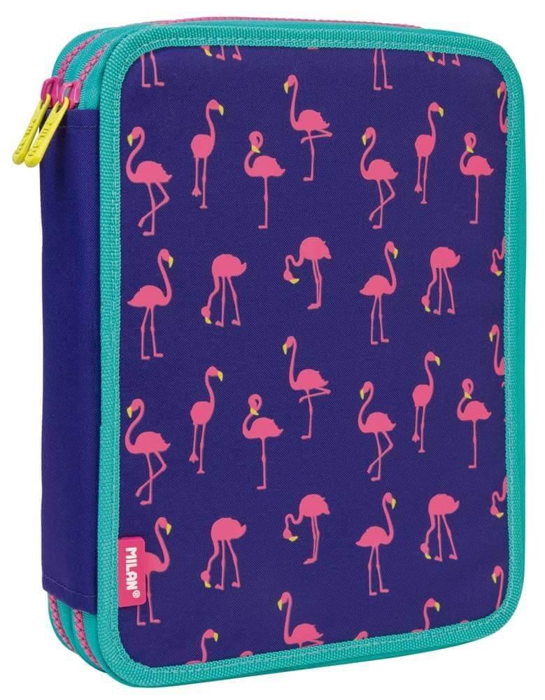 Estuche Milan Flamingos Doble 59 Piezas