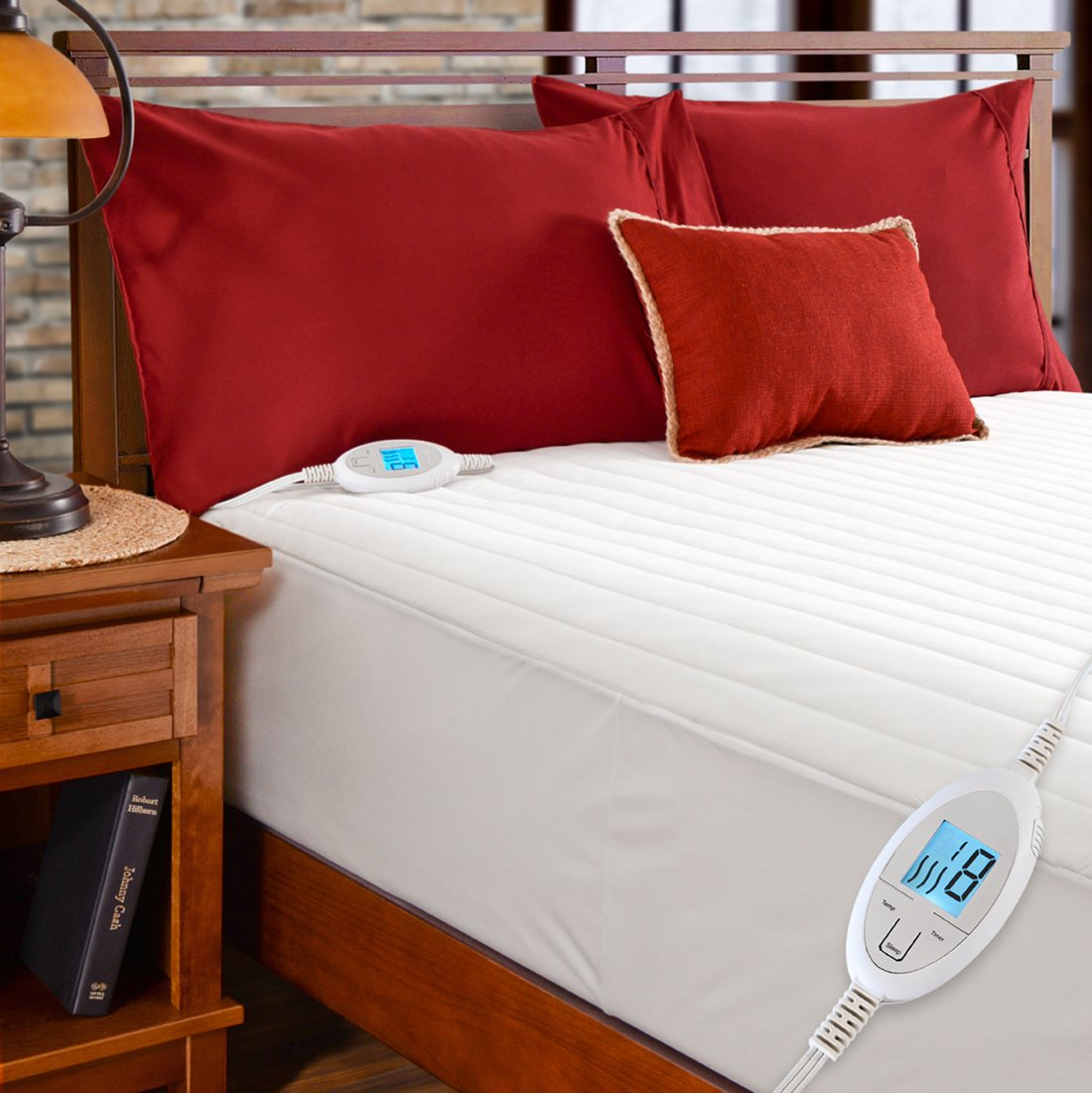 Simple Comfort Quilted Electric Heated Mattress Pad with SENSOR-SAFE Overheat Protection Technology (Twin Size w/Single Controller)