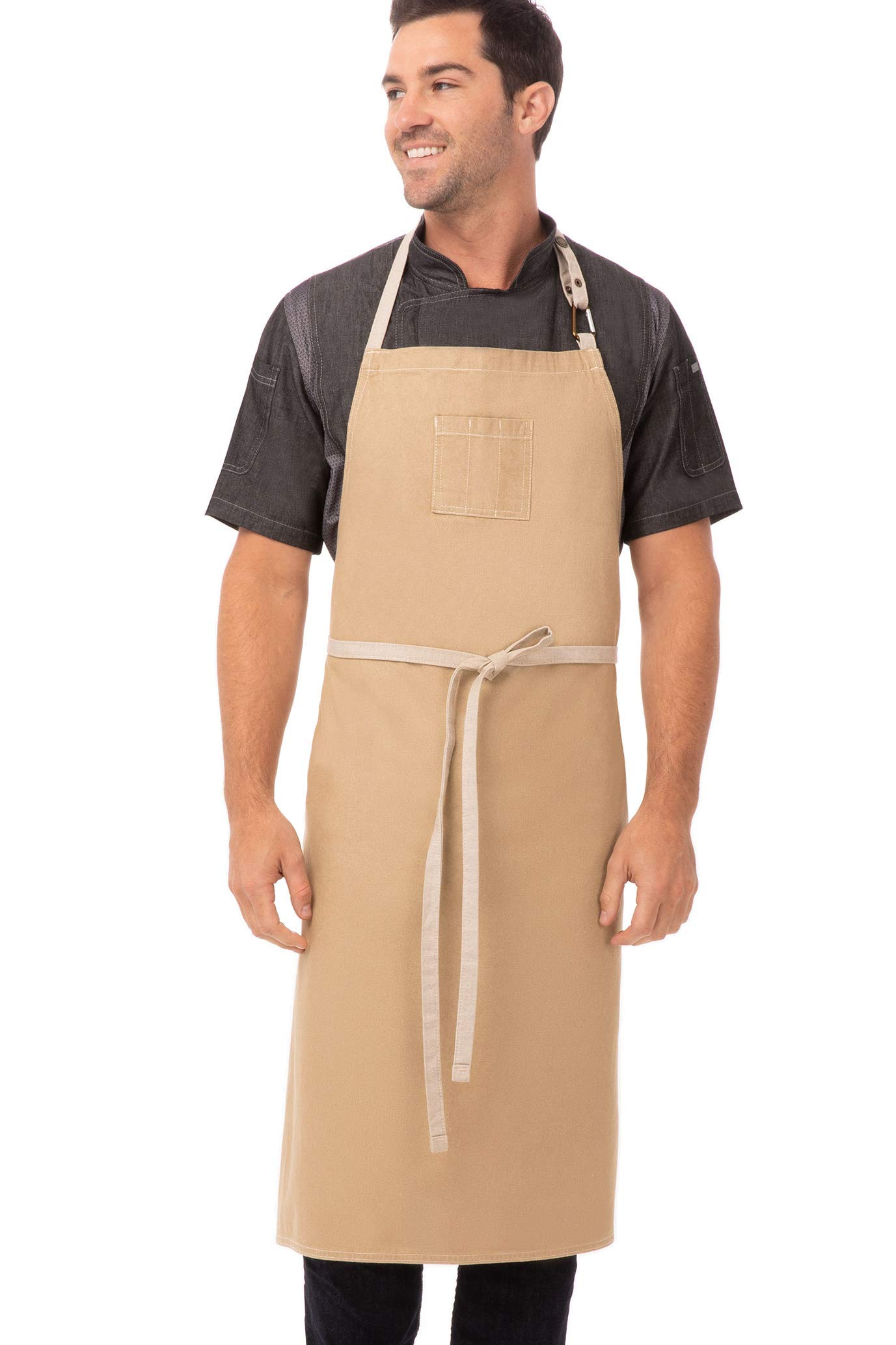 Chef Works Unisex Austin Chefs Bib Apron, Natural, One Size by Chef Works