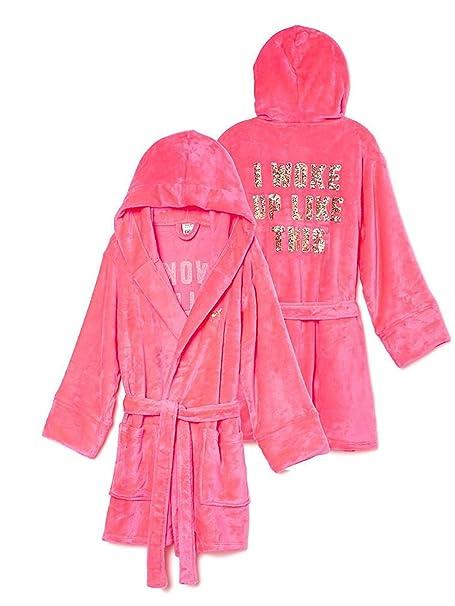 Victoria s Secret Rosa Plush Robe Fleece con Capucha Rosa - Gris -