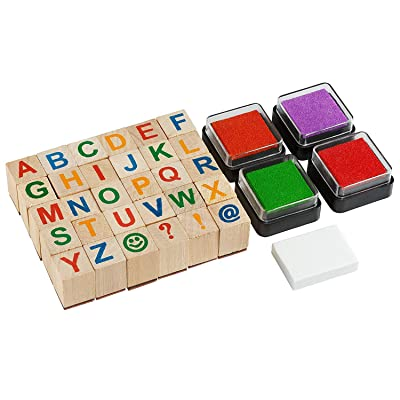 Moore: Premium Wooden Alphabet Stamp Set - 34 Piece Set of Capital Letters Stamps with 4 Color Ink Pads: Toys & Games