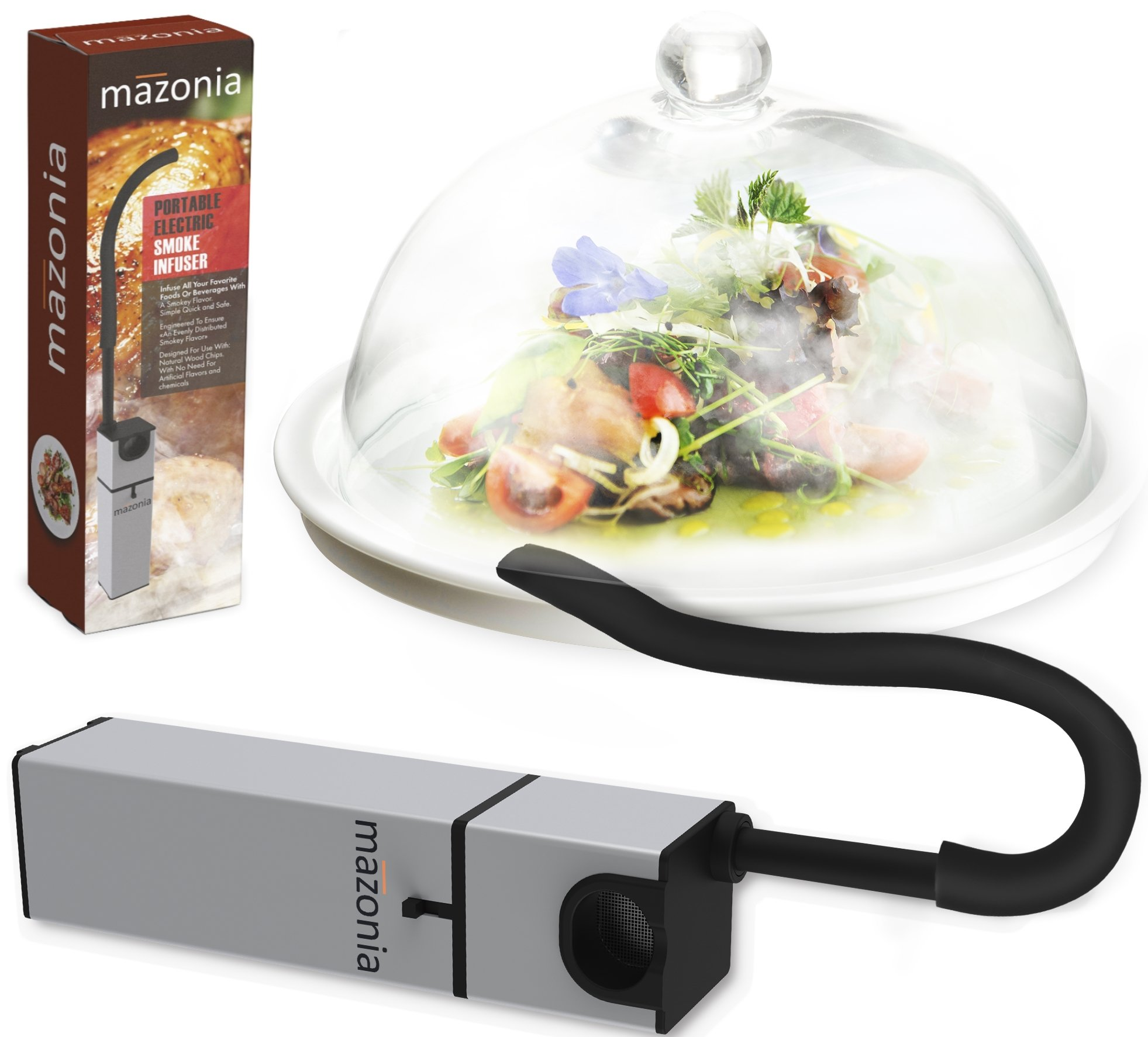 Mazonia Portable Infusion Smoker Gun For Kitchen Indoor/Outdoor | For Meat, Sous Vide, Grill, BBQ, Cocktail Drinks And Cheese. Uses Real Wood Chips (Gold) (Silver) by Mazonia