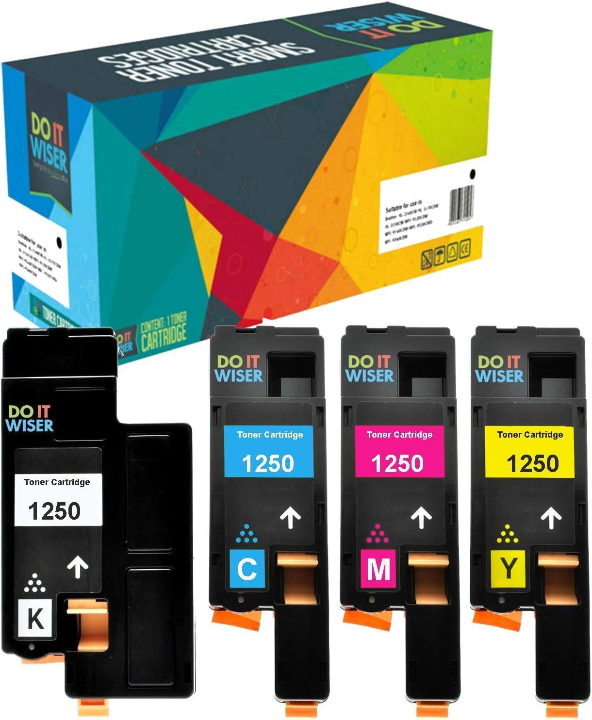 Do it Wiser Compatible Toner Cartridge Replacement for Dell C1760nw C1765nfw 1250c 1350cnw 1355cn 1355cnw C1765nf - 810WH Black, C5GC3 Cyan, XMX5D Magenta, WM2JC Yellow (4-Pack)