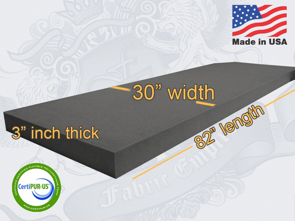 30'' X 82'' Upholstery Rubber Foam Sheet Cushion (Seat Replacement, Foam Padding) USA Made NF33 (3'' x 30'' x 82'' Rubber Foam Sheet) by FABRIC EMPIRE