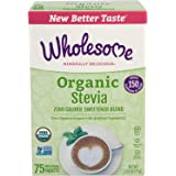 Wholesome Organic Stevia, Zero Calorie Sweetener Blend, Non GMO & Gluten Free, 1 g (Pack of 75)