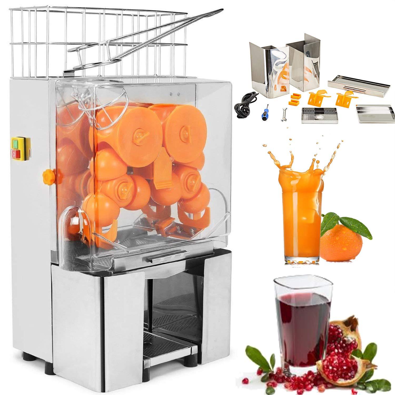 Happybuy Orange Juicer Orange Squeezer Machine Citrus Juicer Electric Fruit Juicer Machine Citrus Lemon Lime Automatic Auto Feed Commercial (Stainless Steel tank)