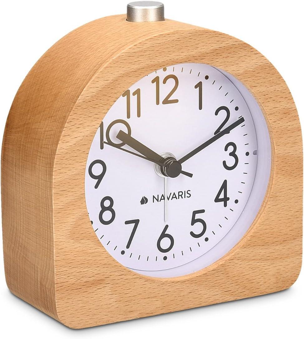 Navaris Despertador analógico - Despertador Madera con luz y Sonido - Reloj Retro con función repetición de Madera Natural Color marrón Claro