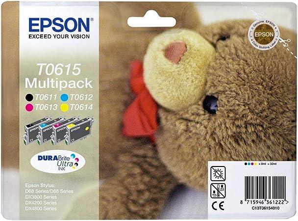 Epson Original C13t06154010 Teddybär Wisch Und Wasserfeste Tinte Multipack 4 Farbig Cymk Bürobedarf Schreibwaren