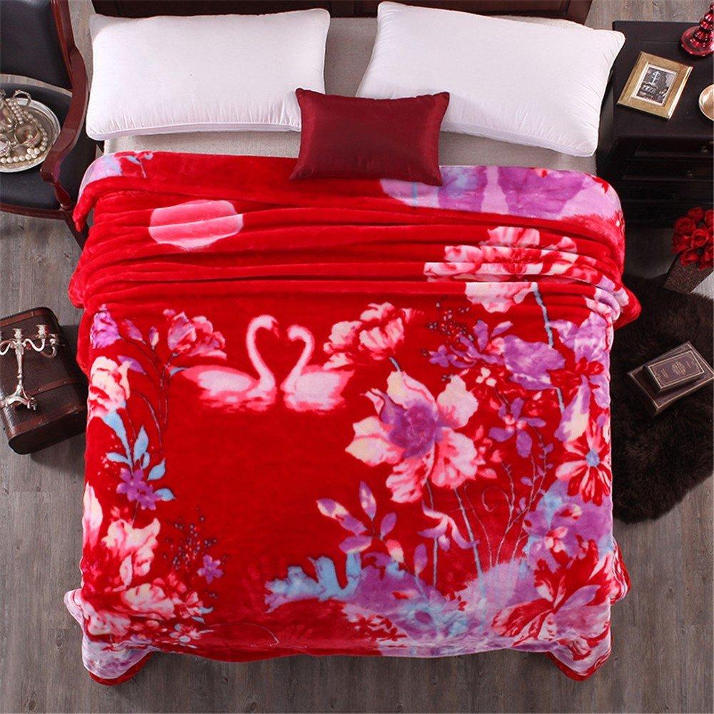 Double-Layer Thicker Winter Korallen samt Hochzeit Student Doppel Sofa Raschel Leisure Blanket,200x240cm 9