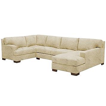Amazon Com Bradbury 3 Piece Sectional Sofa Beige Raf Chaise