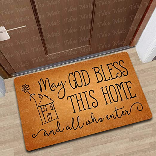 Tdou God Bless This House and All Who Enter Doormat God Bless Doormat  Entrance Floor Mat Funny Doormat Door Mat Decorative Indoor Outdoor Doormat  23 6
