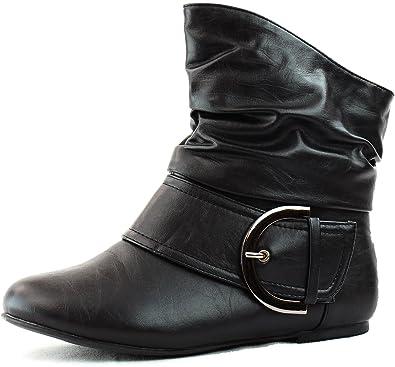 Amazon.com   Women\'s Ankle Booties Buckle Buckle Slouch Flat Heel ...