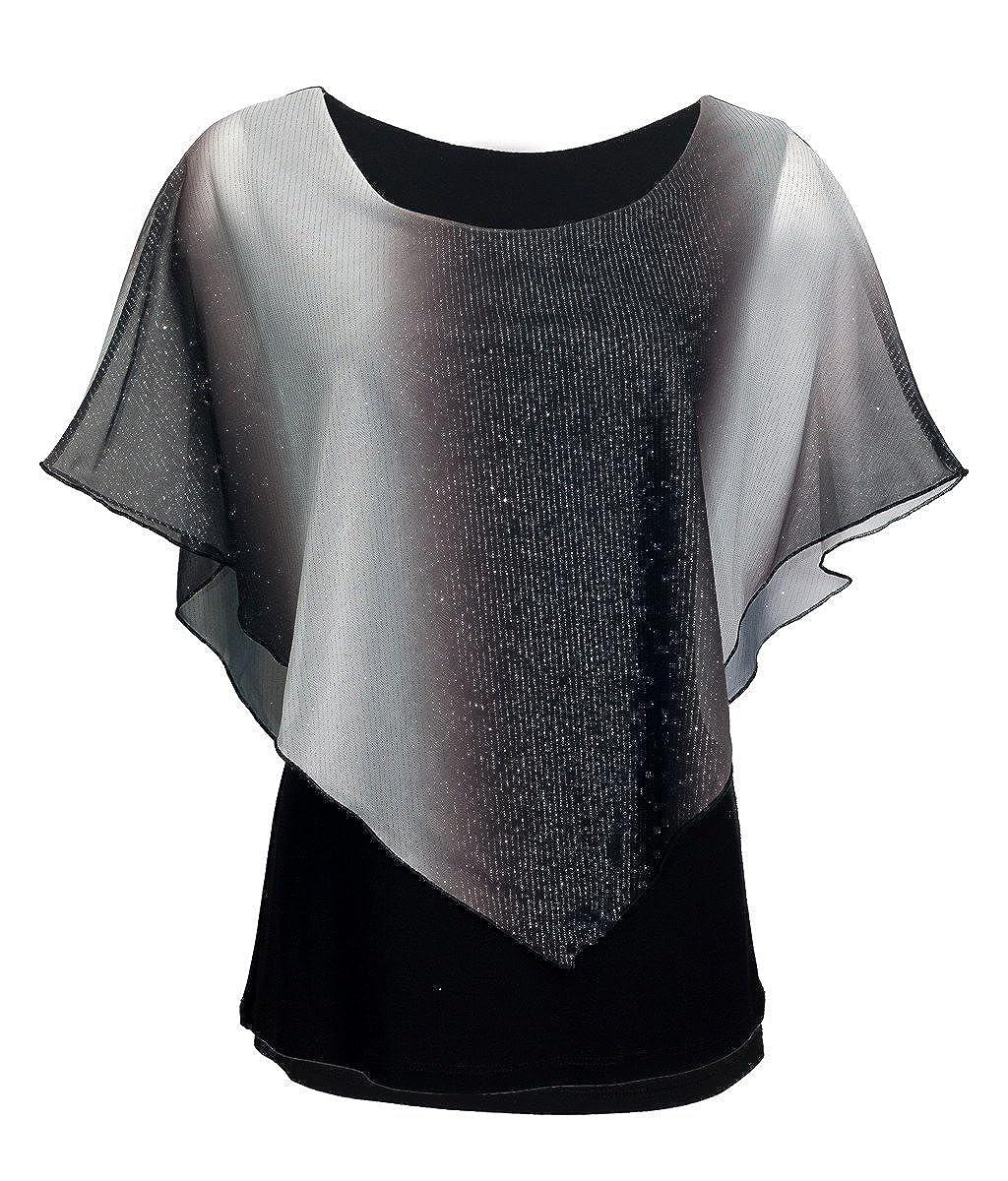 eVogues Plus Size Glitter Layered Look Poncho Top M20121124A_BLU