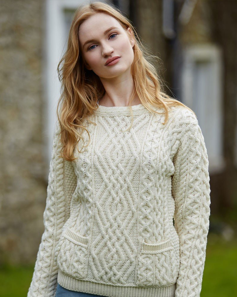Ladies 100% Irish Merino Wool Cable Crew Sweater with Pockets by West End Knitwear,Natural,Medium