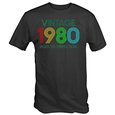 6TN Mens Vintage 1980 Aged to Perfection T Shirt: Clothing