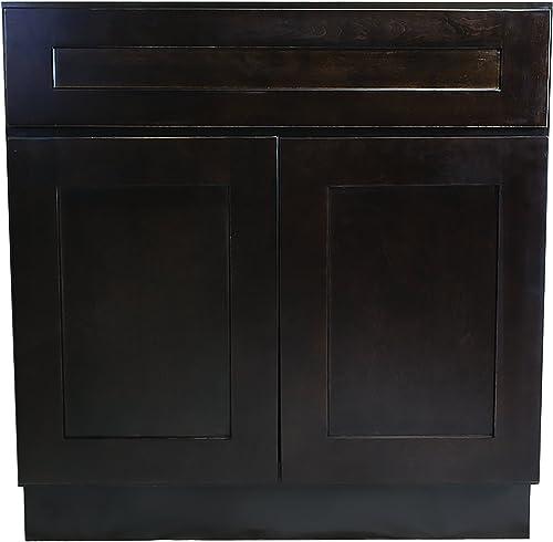 Design House Brookings 30-Inch Sink Base Cabinet, Espresso Shaker