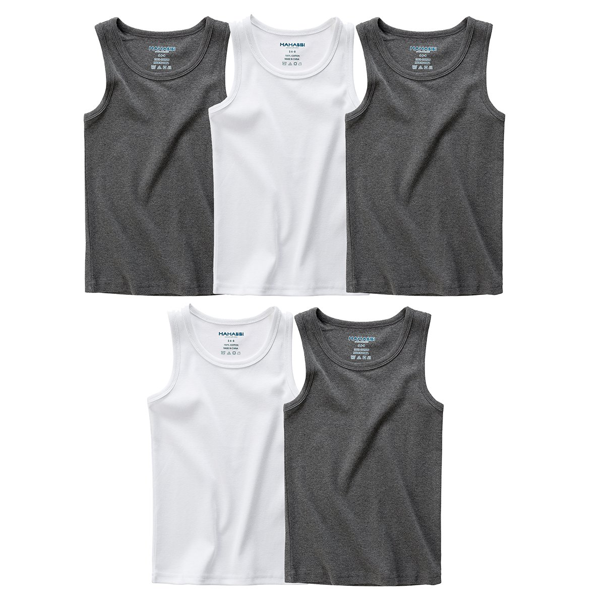 MAMABIBI Little Boys Undershirts Round Neck 100% Cotton Sleeveless T-Shirt 5 Pack