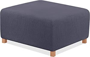 TAOCOCO Ottoman Cover Rectangular Storage Ottoman Slipcover Stretch Footrest Stool Covers Furniture Protectors Spandex Jacquard Fabric with Elastic Band Dark Grey