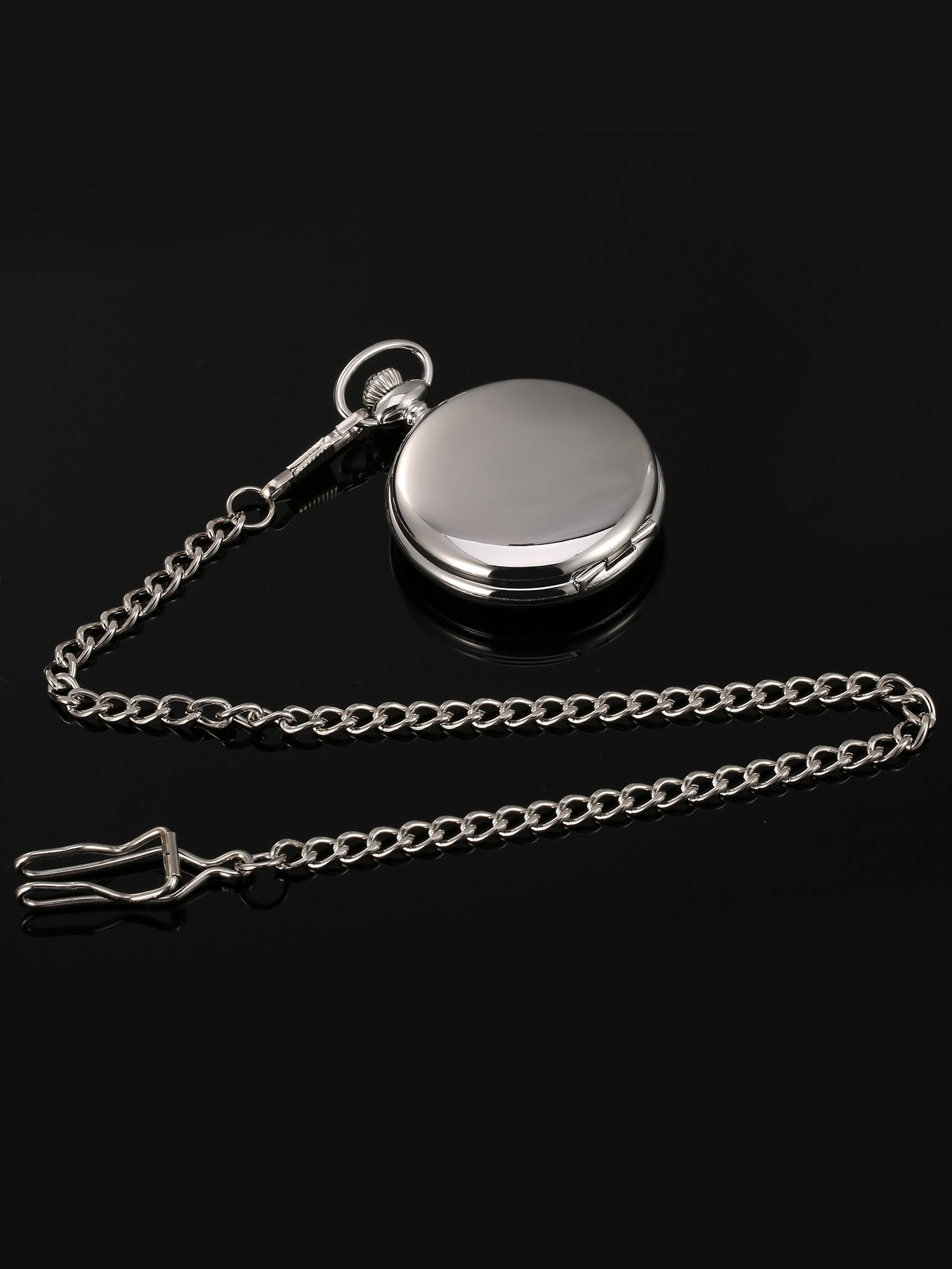 Mudder Classic Smooth Surface Mechanical Pocket Watch with Chain Xmas Birthday Wedding Father Day Gift (Silver) by Mudder (Image #6)