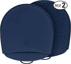 New for 2020! 100% Silicone Pot Holders & Oven Mitts. A Silicone Mitt is Healthier Than Cotton & Easier to Clean, Won't Grow Mold or Bacteria. Heat Resistant, Non-Slip & Flexible (Blue, 1 Pair)