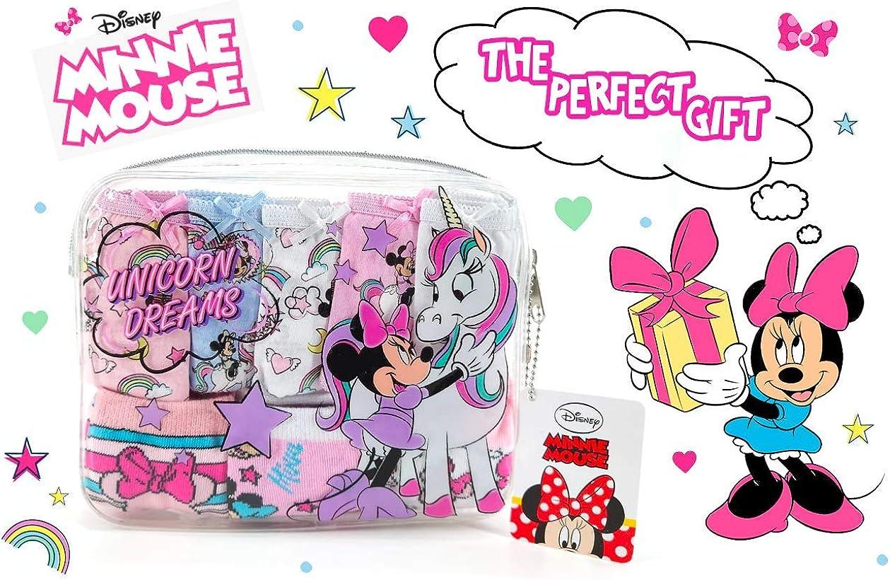 Disney Minnie Mouse und Einhorn Schl/üpfer und Socken Set f/ür M/ädchen Baumwolle Kinder Unterw/äsche! 3 Socken und Kleine Tasche Multipack von 5 Schl/üpfer