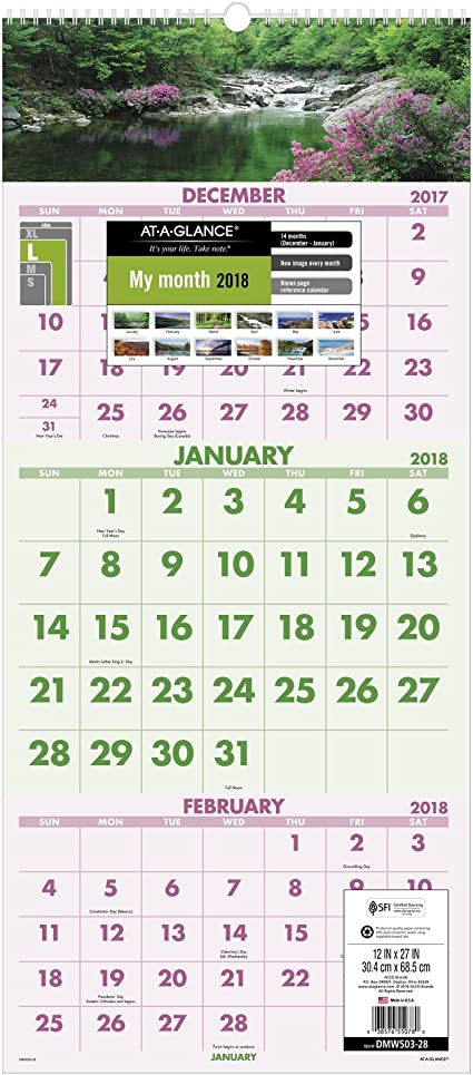 AT-A-GLANCE calendario de pared, 2018, diciembre enero 2017 – 2019 ...