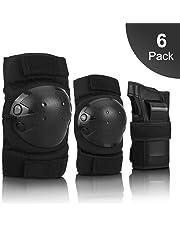 IPSXP Protektoren Set, Schoner Schutzausrüstung Set mit Ellbogenschützer Knieschützer Armbänder für Kinder und Erwachsene Skater, Rollerblading, Skateboard, Roller, Fahrradfahren (M/L)