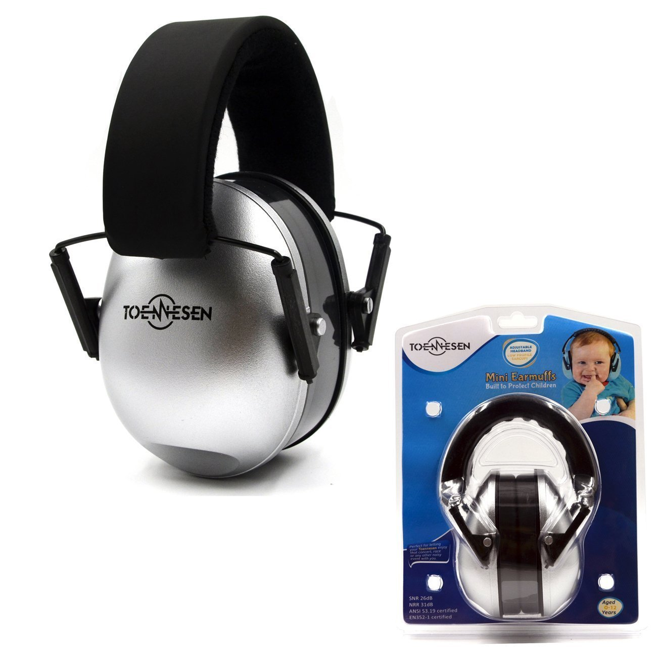 Toennesen Kids Ear Defenders NRR 31dB Baby Ear Protectors Comfortable Safety Ear Muffs for Concert or Fireworks Hearing Protector with Adjustable Headband for Children (silver)