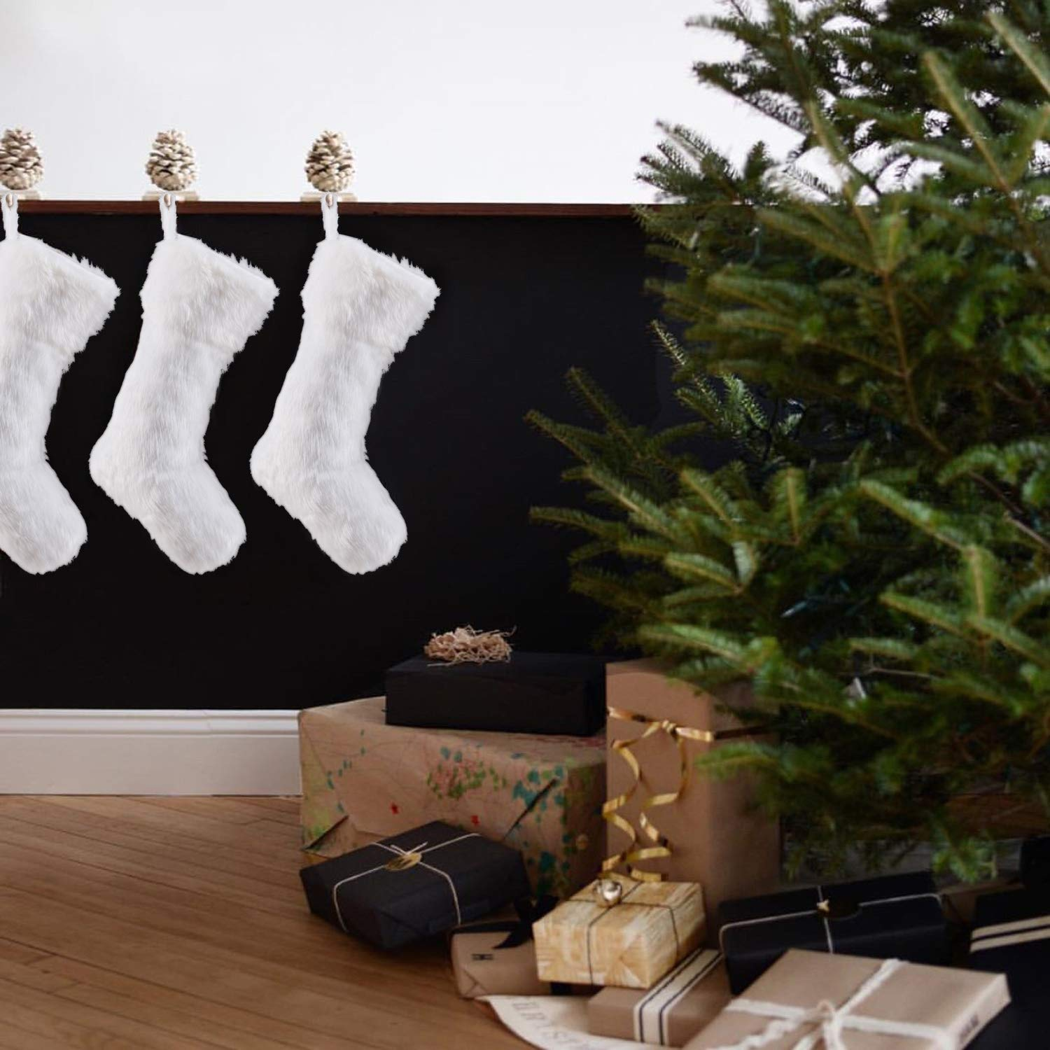 2 Pcs 18 inches Large Snowy Luxury Hanging White Faux Fur Christmas Stocking for Family Holiday Party Christmas Fireplace Decorations Arnech Christmas Stockings
