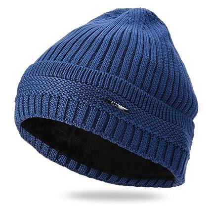 14fdf9a1fea05 Amazon.com  LIULIULIU🍄Men Boys Beanie Winter Soild Knitted Beanie Head Cap  Keep Warm (Blue)  Garden   Outdoor
