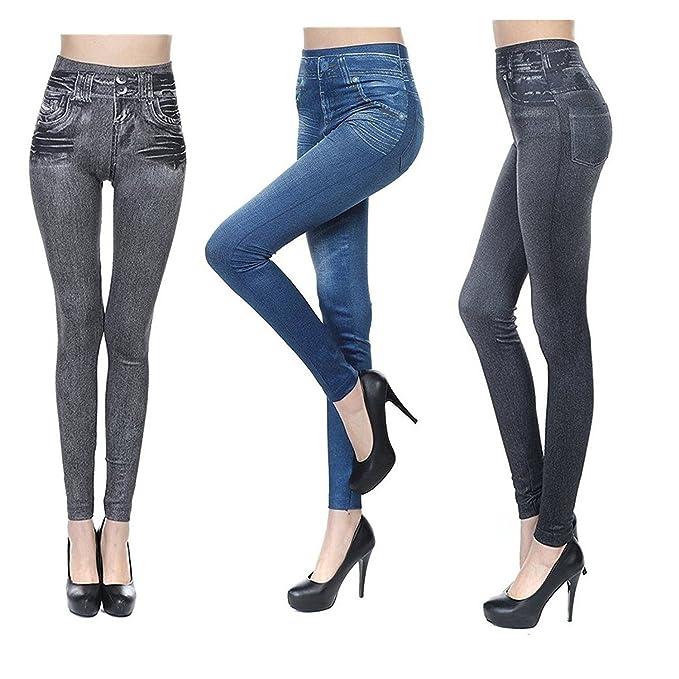4 opinioni per 3 paia Donna Jeggings Elastici Leggins Vita Alta Jeans Pantaloni Stretti Ghette