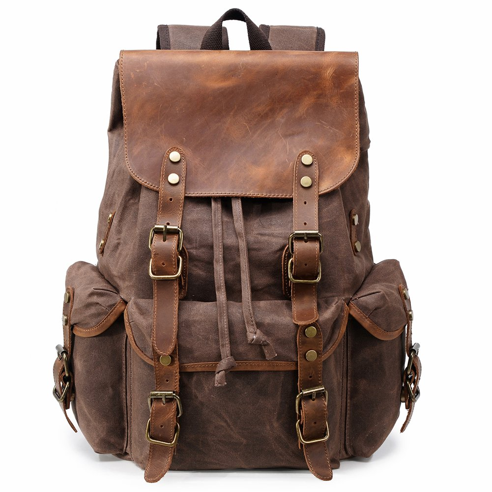 Kemy's Canvas Backpack for Men Vintage Waxed Canvas Laptop Backpacks School Top Flap Bookbag Waterproof Rustic Daypack Leather Travel Rucksack for Hiking Adventure, Large, Coffee Jimei Leather Factory KM8018B-1