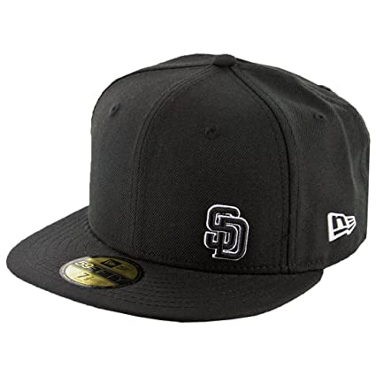 bb19c9baf205b Image Unavailable. Image not available for. Color  New Era 59Fifty San  Diego Padres Fitted Hat (Flawless Black Black White)