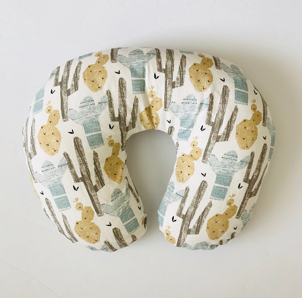 Nursing Pillow Cover - Blue and Tan Cactus