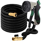 OVAREO Garden Hose 50 Feet + Heavy Duty Spray Nozzle with 8 Functions Flexible and Expandable Water Hose with Triple Latex Core 3/4 Solid Brass Fittings Strong Material to Insure No Leak Kink Free