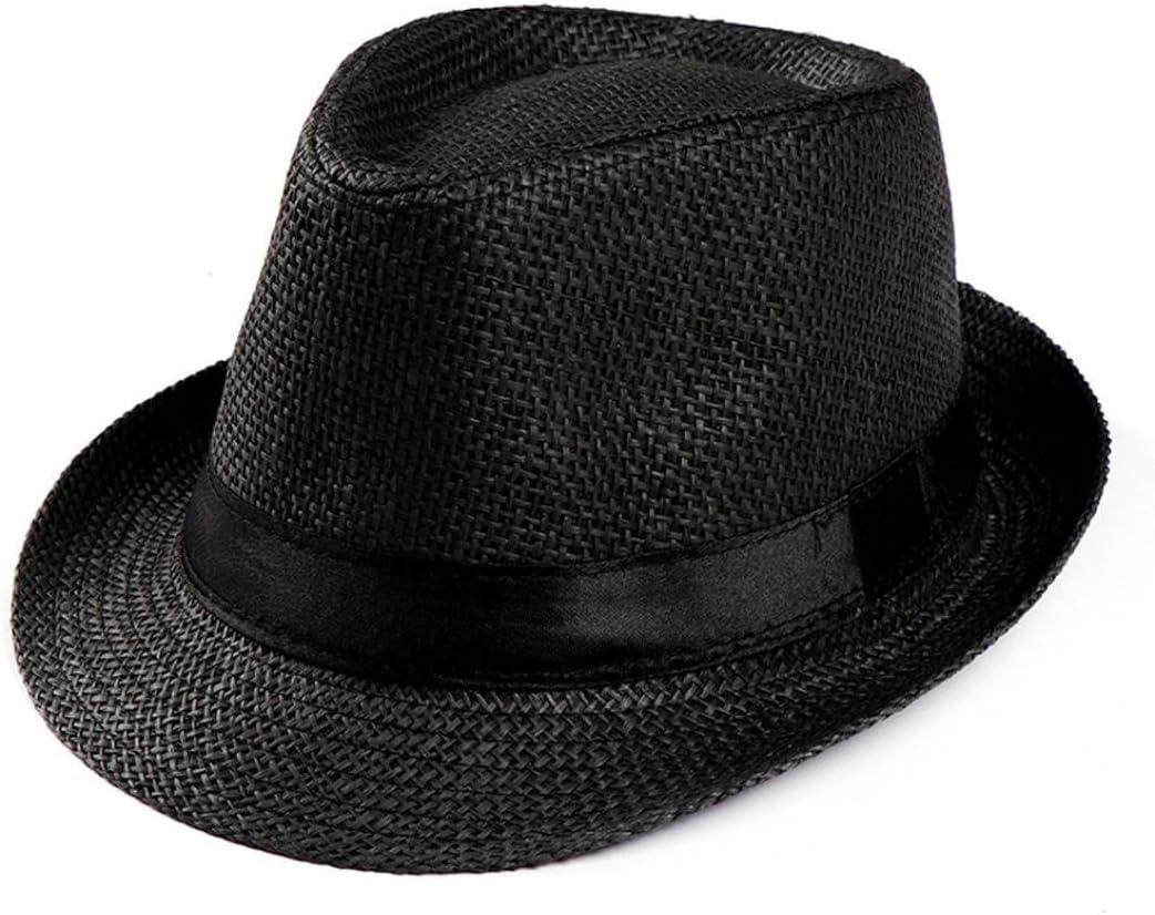 Amlaiworld_Gorras Gorras Gorras de Hombre Mujer Unisex Trilby Gangster Mujer Hombre Sombrero de Paja de Sol de Playa Banda Sombrero para el Sol
