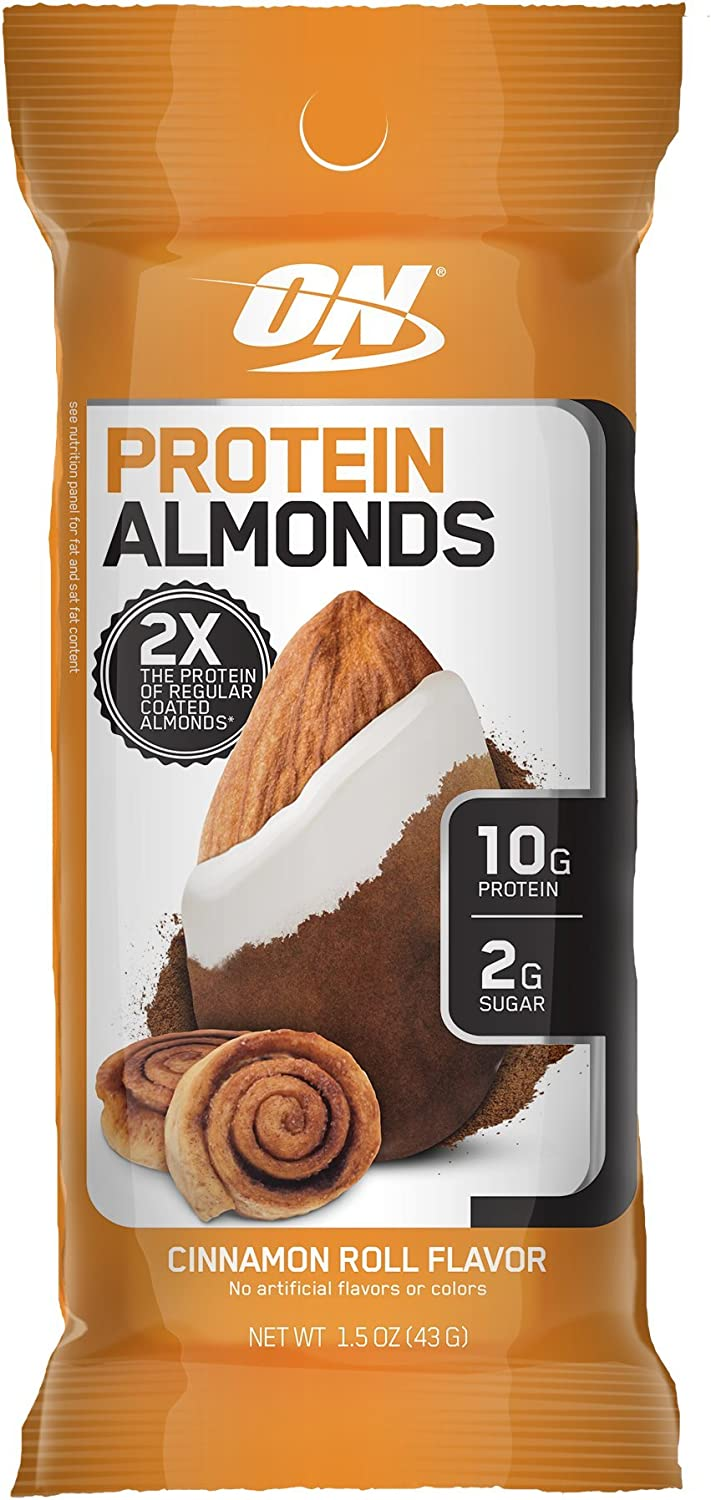 Optimum Nutrition Protein Almonds Snacks, Immune Support with Vitamin E, On The Go Nutrition, Low Sugar, Made with Whey Protein Isolate, Cinnamon Roll, 12 Count
